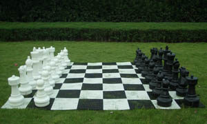 large giant chess set with mat