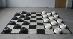 Large Giant Draughts/Checkers set with nylon board