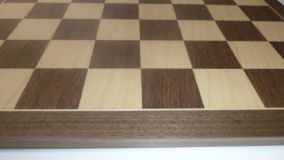 close up of wooden walnut chess board